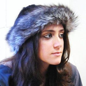 Accessories - Genuine Fox Fur Headband Frosted Black/White NEW